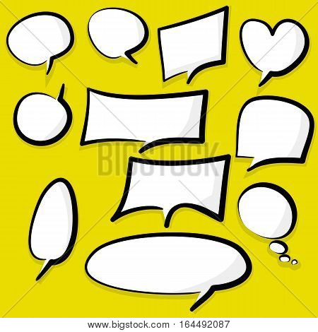 Set picture blank template comic text speech chat bubble style pop art. Dialog empty cloud, space pop art Creative idea conversation. Clear comics book sketch explosion