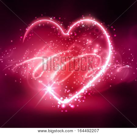 Neon heart on the dark background pink and blue on abstract backround