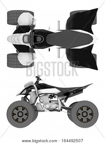 ATV isolated on white top and side view. 3d rendering