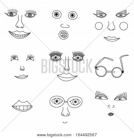 Seven images of the face and its elements in the children's style points on a white background