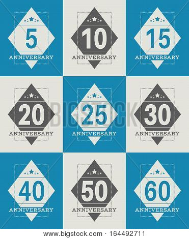 Vector set of anniversary symbols. 5th, 10th, 15th, 20th, 25th, 30th, 40th, 50th, 60th anniversary logo's collection.
