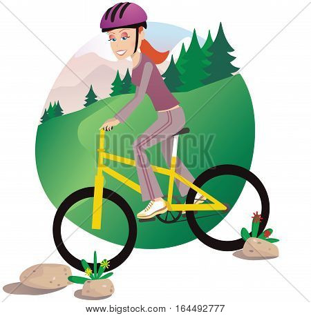 A woman riding a mountain bike outdoors for leisure.