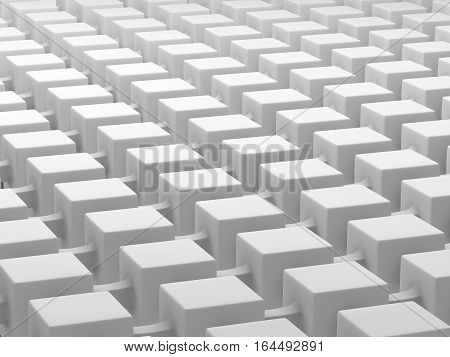 White cubes connected by links. Connected cubes network concept. 3D illustration