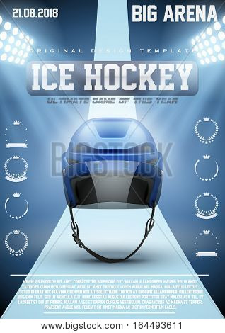 Poster Template Ice Hockey Games with Player Helmet. Cup and Tournament Advertising. Sport Event Announcement. Vector Illustration.