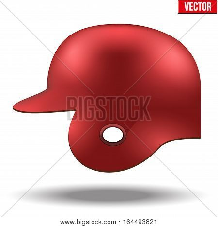 Classic baseball helmet. Red color. Side view. Sample equipment for your design. Vector illustration Isolated on white background.