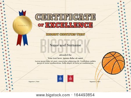 Certificate of excellence template in sport theme for basketball event with basketball court outline background