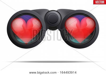 Realistic Binoculars with heart on lens. Symbol of looking for love. Editable Vector illustration Isolated on white background.