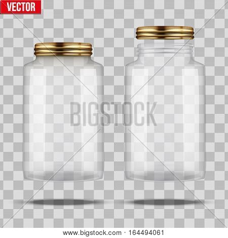 Set of Glass Jars for canning and preserving. Square shape with right angles. With closed and open cover. Vector Illustration isolated on transparent background.
