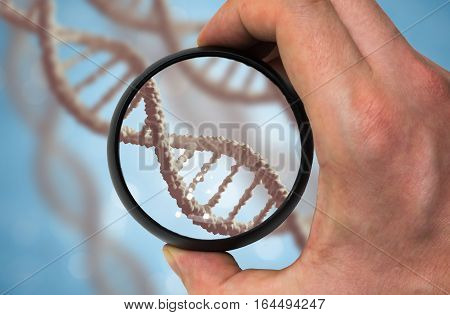 Scientist Examinates Dna Molecule. Genetics Research Concept.