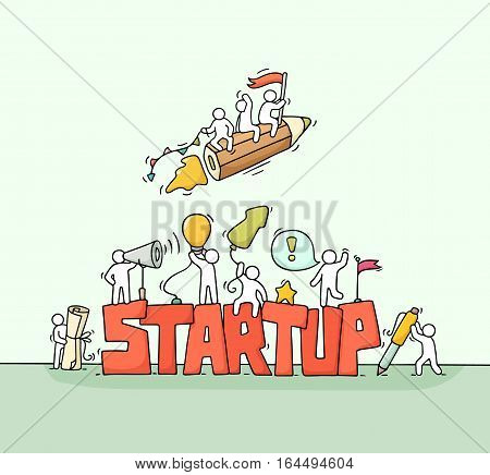 Sketch of working little people with fly pencil word Startup. Doodle cute miniature scene of workers. Hand drawn cartoon vector illustration for business design and infographic.