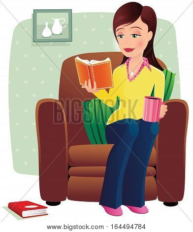 A young woman reading a hardback book at home in a comfy chair.