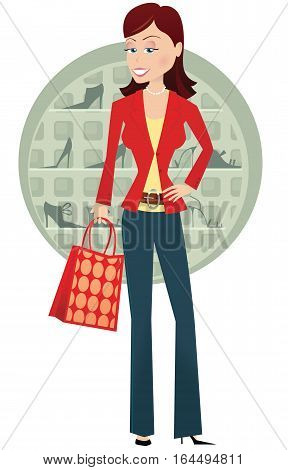 An illustration of woman posing while out shoe shopping.