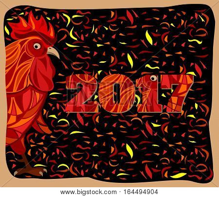 Stylized red rooster fire traditional symbol of 2017 by oriental calendar chinese new year vector illustration