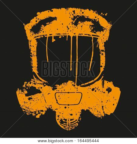 Gas mask with paint splash effect. Graffiti style. Vector illustration Isolated on white background.