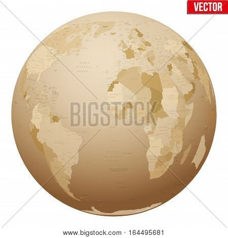 Antique Earth globes. old and retro style. Vector Illustration isolated on white background