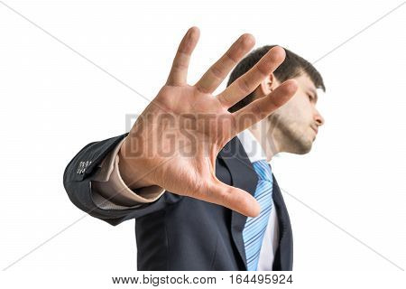 Politician Is Showing Hand. No Comment Gesture. Isolated On Whit