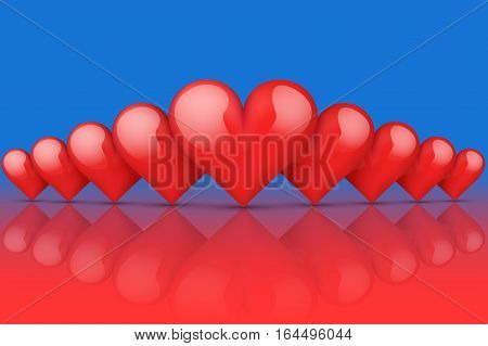 Realistic Red Romantic Hearts Background. Hot and Cold style. Card and Invitation of Happy Valentines Day Greetings. Vector Illustration