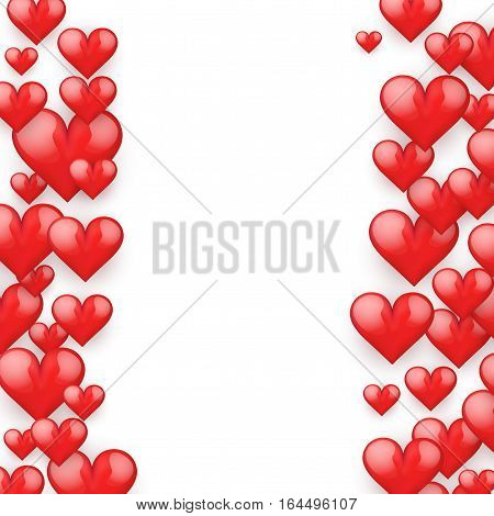 Realistic Red Romantic Hearts Background. Card and Invitation of Happy Valentines Day Greetings. Vector Illustration on white background