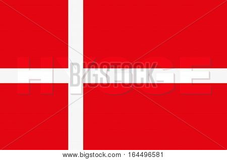 Word HYGGE on Denmark Flag. Pleasure and comfort symbol. Vector Illustration isolated on white background.