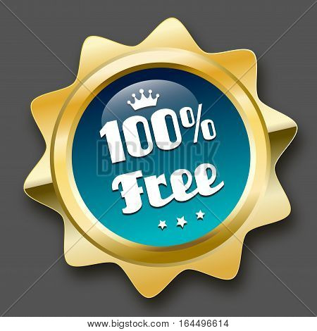 100% free seal or icon with crown symbol. Glossy golden seal or button with stars and turquoise color.
