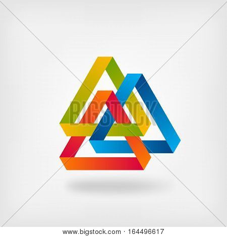 three color interlocked triangles. vector illustration - eps 10