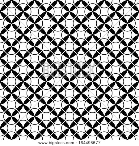 Vector monochrome seamless pattern, repeat abstract geometric texture. Illustration with black & white spools, simple endless background. Design element for prints, textile, digital, decoration, web
