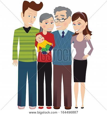 An image of a three generation family. Baby, parents and grand parents.