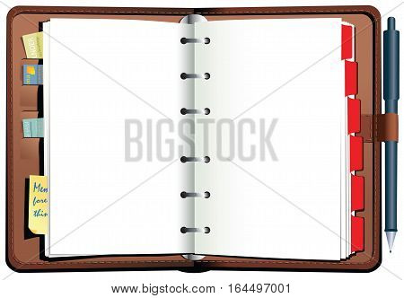 An illustration of a leather bound desk top diary or agenda.