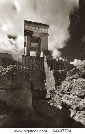 Red column Knossos palace. Black and white photo. Crete. Greece