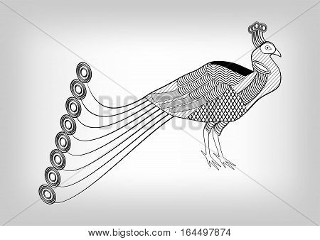 Peacock black and white stylized ornamental drawing isolated bird on gray gradient background useful as decoration tattoo template emblem