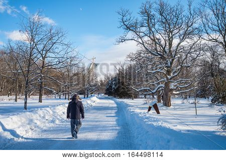 Montreal CA - 5 January 2017: Winter snowy landscape in Montreal Quebec (Botanical Garden)