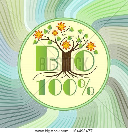 Bio emblem with tree in blossom on green wavy background, etiquette for natural ecologic products from ecology agriculture