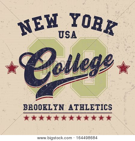 Vintage Sport Wear New York T-shirt Design, Athletics Typography. Easy to manipulate, re-size or colorize.