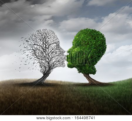 Dead love concept and grieving a relationship loss symbol as a green tree kissing another plant that has died as a psychological sorrow mood metaphor with 3D illustration elements. poster