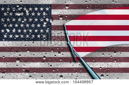 American optimism and positive economic sentiment in the United States of America as a national government hope metaphor as a wiper clearing the gray dark wet clouds with 3D illustration elements.