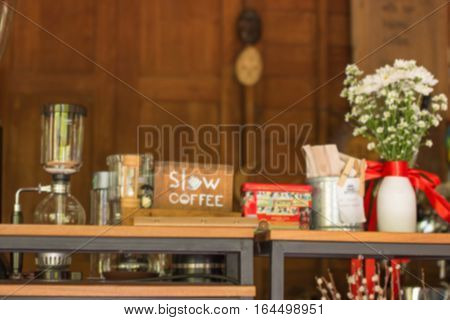 Blurred Restaurant table counter Bar shop background;bar coffee blur background
