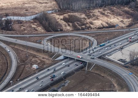 Saint-Petersburg Russia - April 4 2014: Automotive isolation ring road around the city. View from above