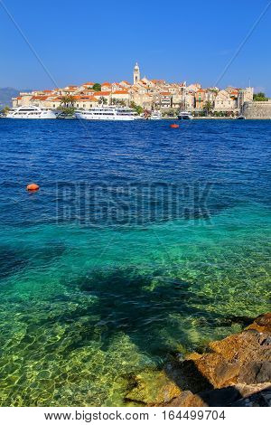 Clear Water At The Waterfront Of Korcula Town, Croatia