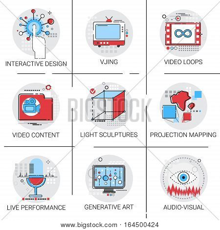 Video Content Visual Multimedia Modern Art Interactive Design Icon Set Vector Illustration