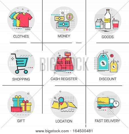 Online Shopping Delivery Set Discount Sale Money Payment Collection Icon Vector Illustration