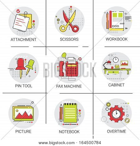 Cabinet Workplace Desk Workspace Office Equipment Icon Set Vector Illustration
