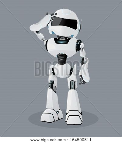 Vector realistic illustration of the white robot. Vector robot on the gray background.