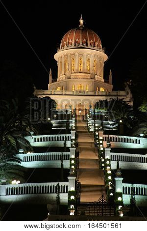 A night view of the Bahai Gardens in Haifa Israel.