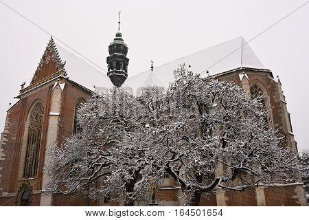 Beautiful Old Temple-church. Basilica Of The Assumption. Virgin Mary. Brno Czech Republic. (basilica