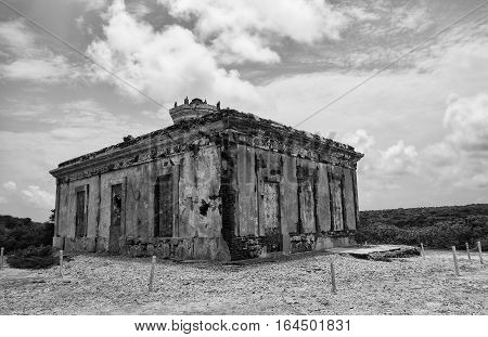 Puerto Ferro lighthouse on Vieques island in black and white.