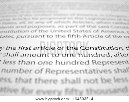 3d illustration of The first amendment papers with depth of field effect.
