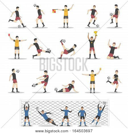 Soccer players set on white background. Goalkeepes, forwards, defenders and midfielders.