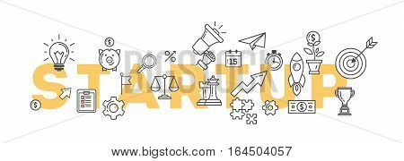 Startup banner illustration with icons. Business strategy and many icons as rocket, magnifyer, loudspeaker and more. White and yellow style.