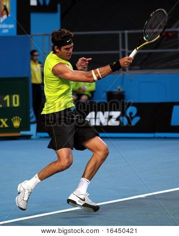 MELBOURNE, AUSTRALIA - JANUARY 20: Argentinian tennis player Juan Martin Del Potro in his win over US opponent James Blake in the 2010 Australian Open on January 20, 2010 in Melbourne, Australia