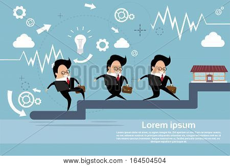 Business People Group Team Walking Stairs Up Flat Vector Illustration